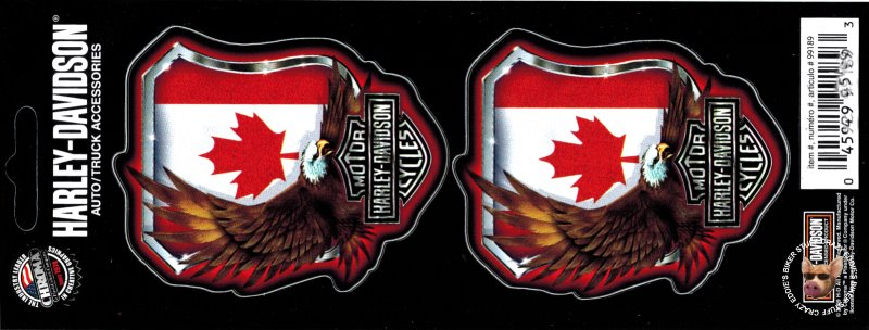 2 HARLEY DAVIDSON CANADIAN FLAG AND AMERICAN EAGLE DECAL SET OF 2 DECALS TWO