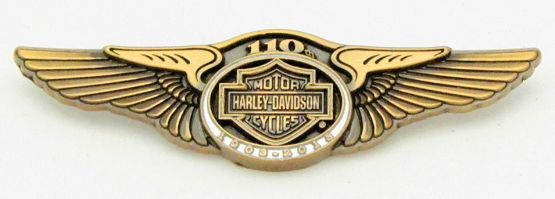 harley davidson 110th anniversary wings vest pin **no reserve