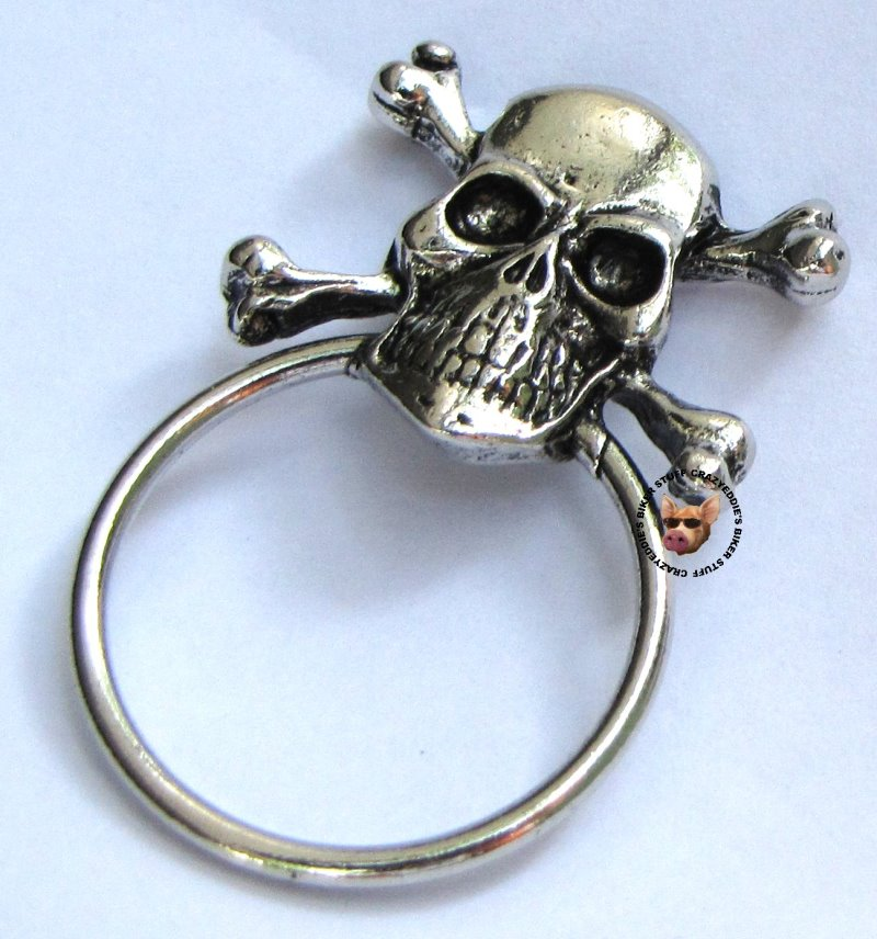 Sunglass Holder Pins: SKULL AND CROSS BONES PIN WITH SUNGLASS HOLDER ** MADE IN